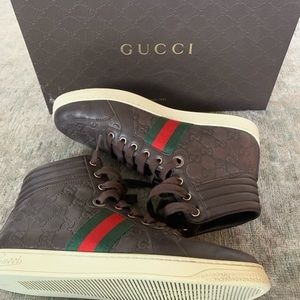 BRAND NEW GUCCI HIGHTOP LEATHER SNEAKERS